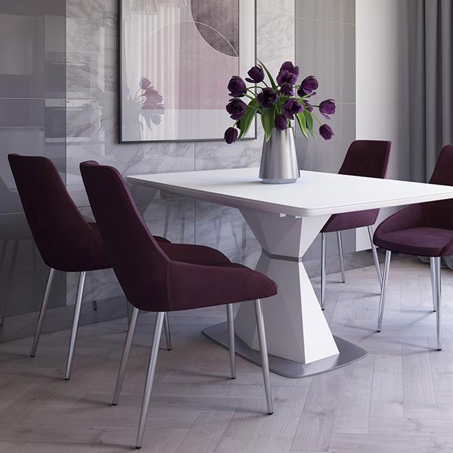 Раскладной стол PRESTOL Кристалл белого цвета