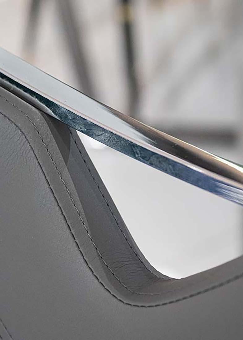 Серый стул PRESTOL Тиффани из экокожи