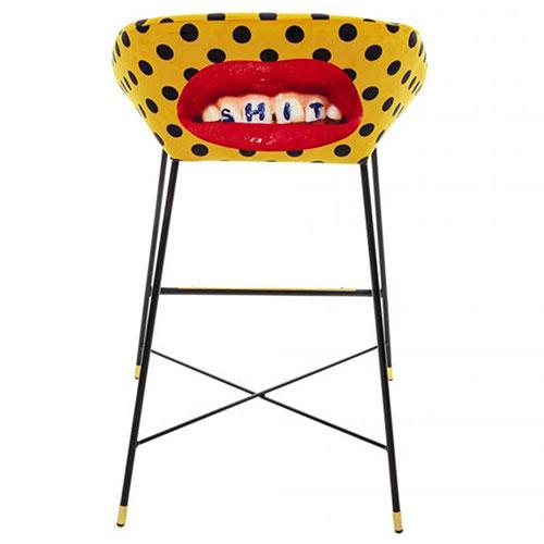 Барный стул Seletti Toiletpaper желтый в горох, фото