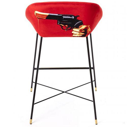 Барный стул Seletti Toiletpaper с рисунком револьвера, фото