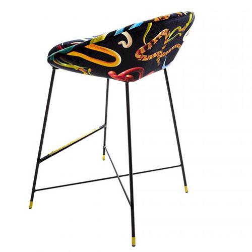 Барный стул Seletti Toiletpaper с принтом-змеи, фото