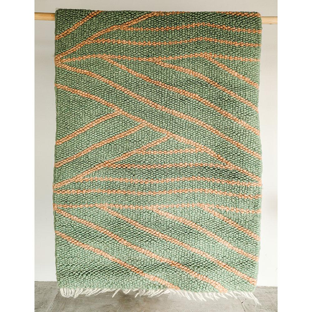 Зеленый ковер Ґушка ручной работы 118х170см