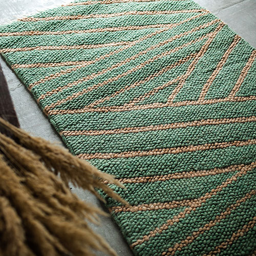 Зеленый ковер Ґушка ручной работы 118х170см, фото