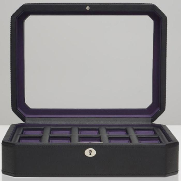 Шкатулка Wolf 1834 Windsor для 10 часов черного цвета с фиолетовой внутренней отделкой