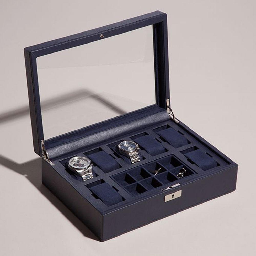 Синяя шкатулка Wolf 1834 для часов с прозрачной крышкой