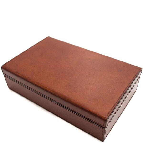 Шкатулка для украшений Cofur из гладкой коричневой кожи