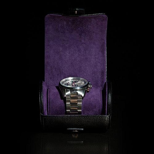 Футляр Wolf 1834 для часов в черном цвете на кнопку, фото