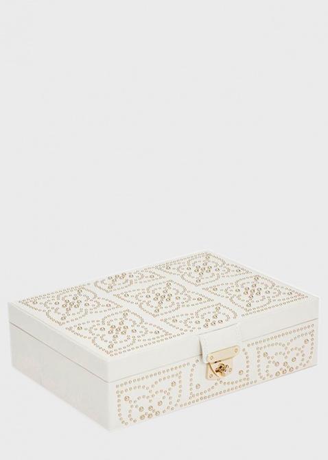 Шкатулка для хранения украшений Wolf 1834 Marrakesh белого цвета с узором из позолоченных заклепок, фото