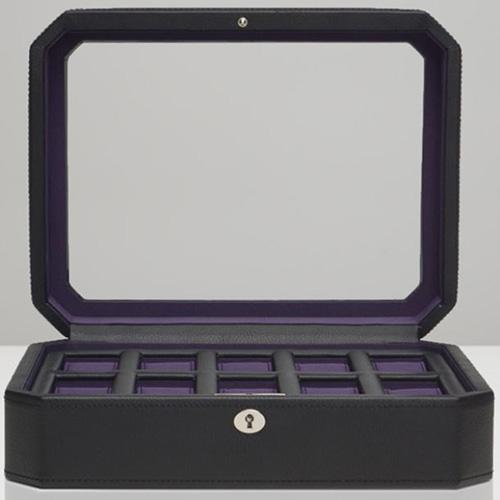 Шкатулка Wolf 1834 Windsor для 10 часов черного цвета с фиолетовой внутренней отделкой, фото
