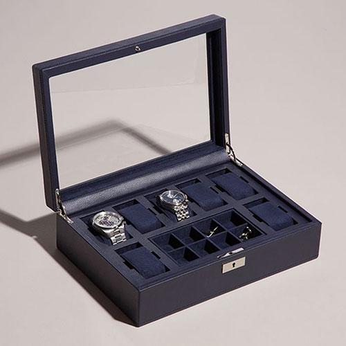 Синяя шкатулка Wolf 1834 для часов с прозрачной крышкой, фото