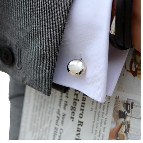 Запонки Deakin&Francis Silver с белой перламутровой инкрустацией, фото