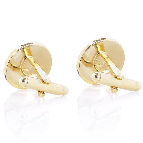 Золотистые запонки Predan круглой формы с рельефными волнистыми линиями, фото