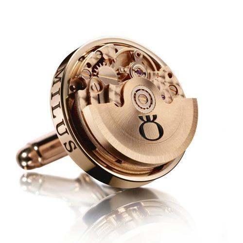 Механические запонки Milus Logo Esmaltado в розовом золоте, фото