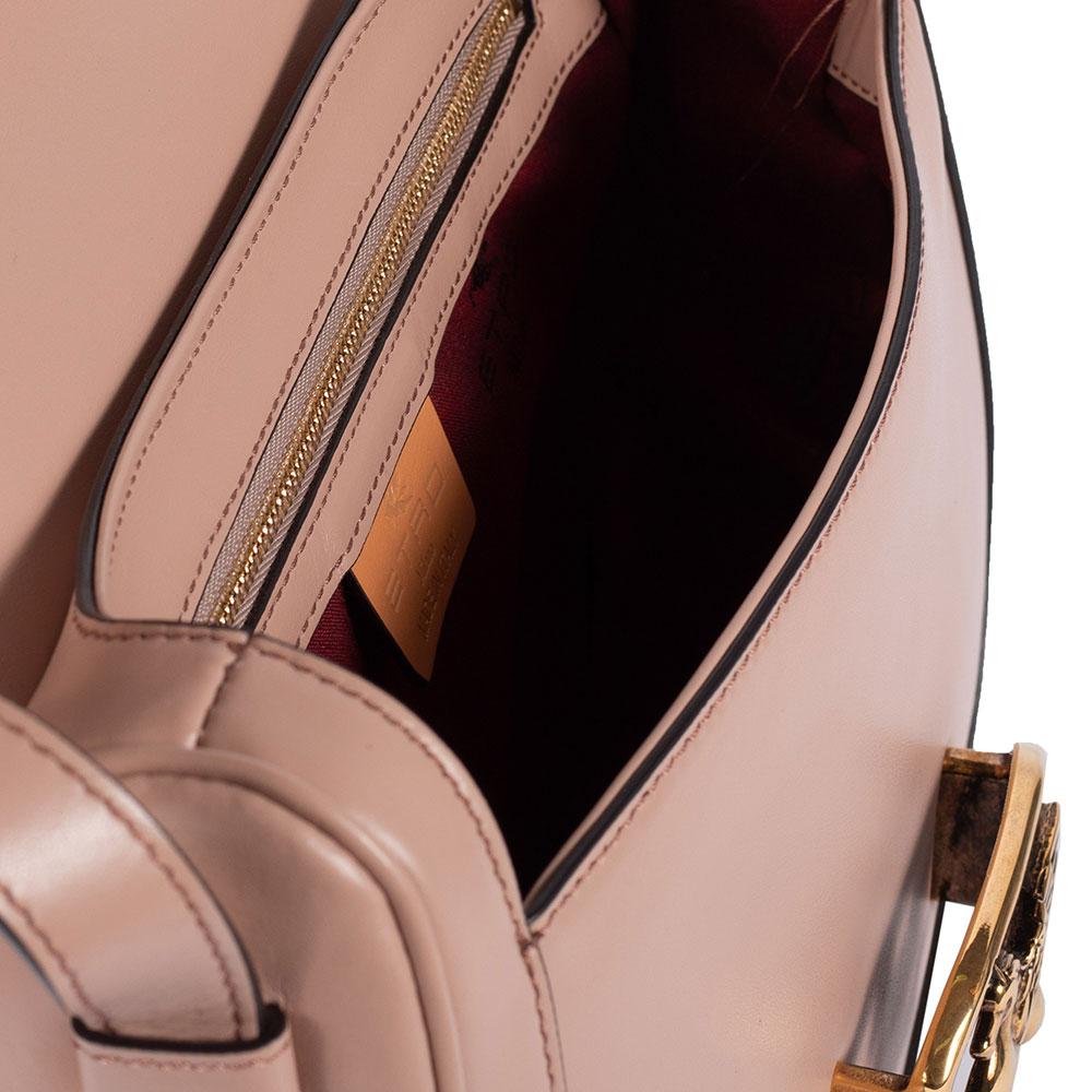Розовая сумка Etro с металлическим декором