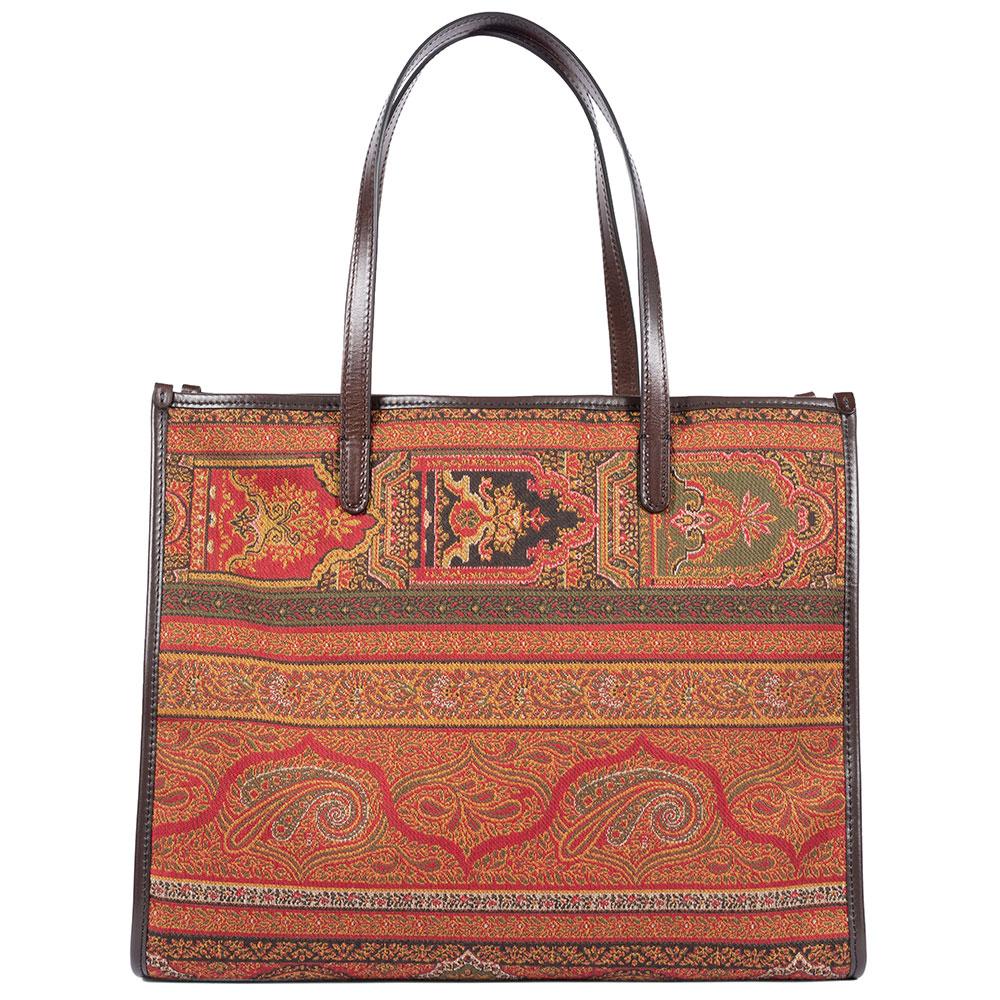 Коричневая сумка-тоут Etro из текстиля с узором
