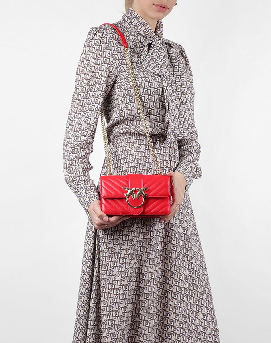 Женская сумка флеп-бег Pinko Mini Love Bag в красном цвете
