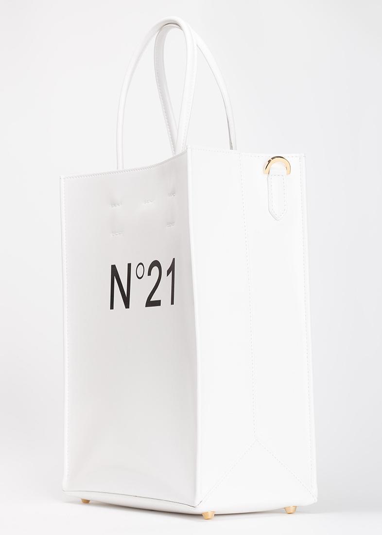 Белая сумка-шоппер N21 с логотипом
