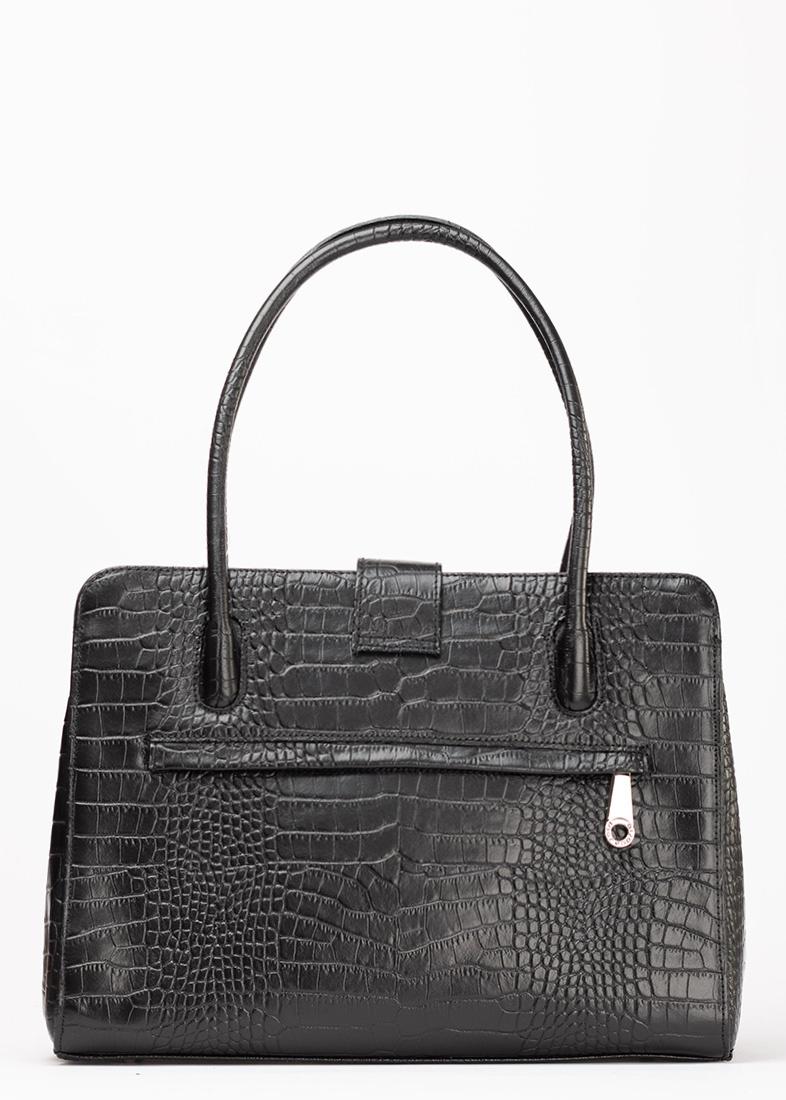 Черная сумка Di Gregorio с тиснением кроко