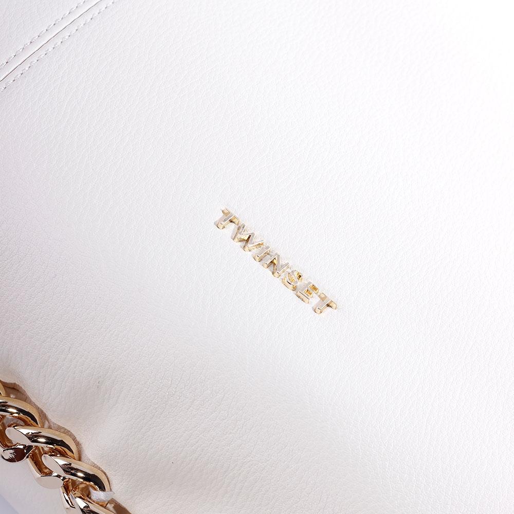 Сумка-хобо Twin-Set белого цвета с декором-цепочкой