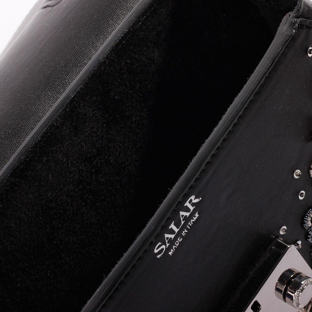 Черная сумка Salar с металлическим декором