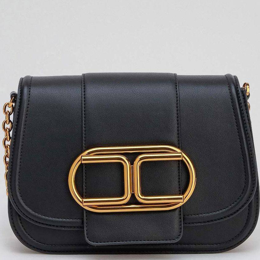 Черная сумка-седло Elisabetta Franchi с большим лого
