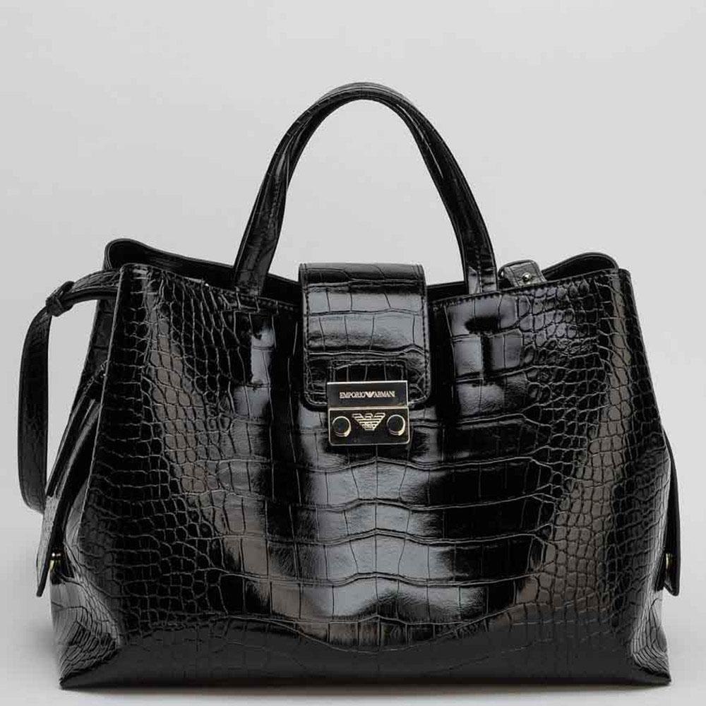 Черная лаковая сумка Emporio Armani с принтом под рептилию