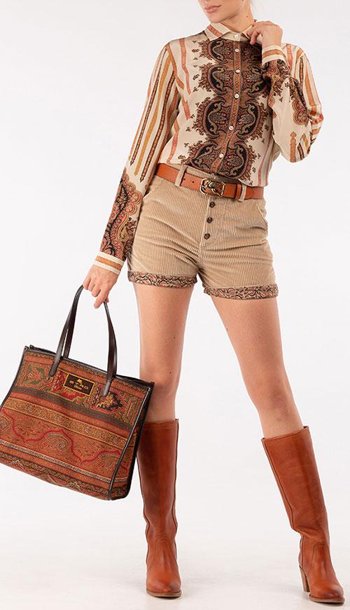 Коричневая сумка-тоут Etro из текстиля с узором, фото