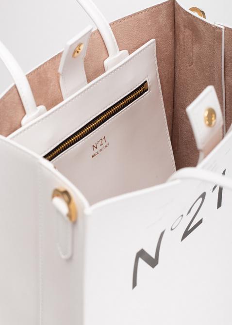 Белая сумка-шоппер N21 с логотипом, фото