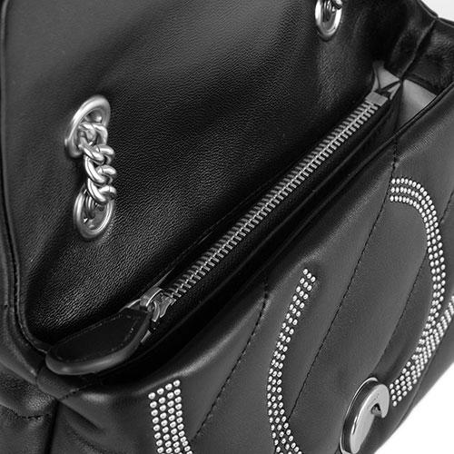 Черная сумка Pinko с металлическим декором на цепочке, фото