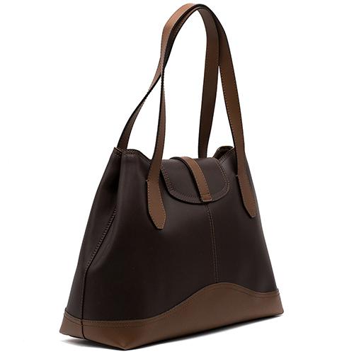 Коричневая сумка Ripani с леопардовым брелоком, фото
