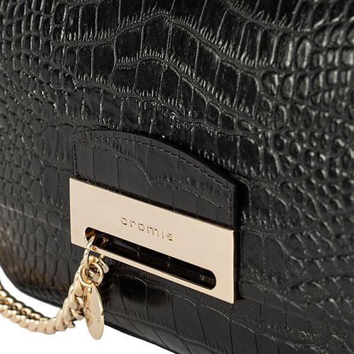 Сумка-багет Cromia Be Strong черного цвета с тисненим под рептилию, фото