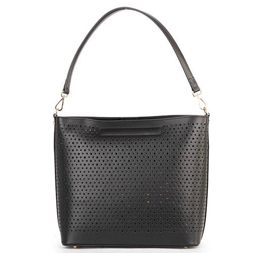 Женская сумка Cavalli Class Eva в черном цвете с перфорацией, фото