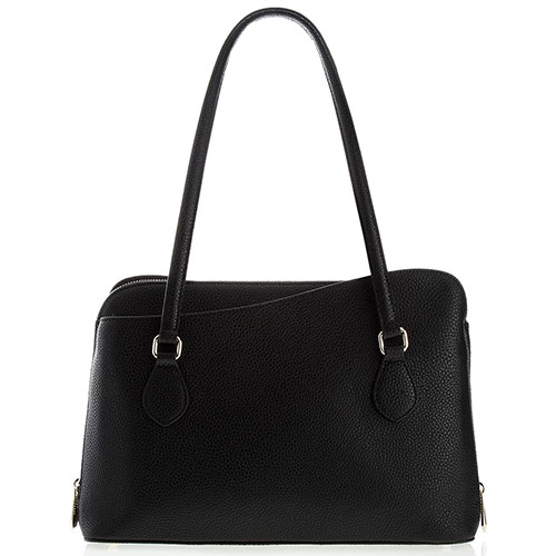 Черная деловая сумка Cromia Mina из кожи с золотистой фурнитурой, фото