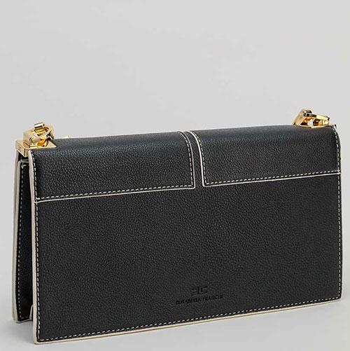 Черная сумка Elisabetta Franchi с контрастной строчкой, фото