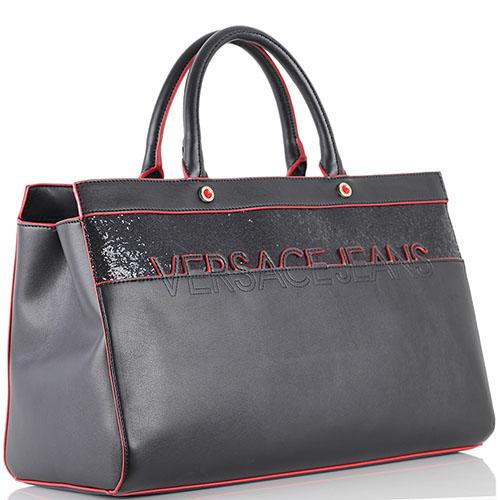 Черная сумка Versace Jeans с красной окантовкой и глиттером, фото