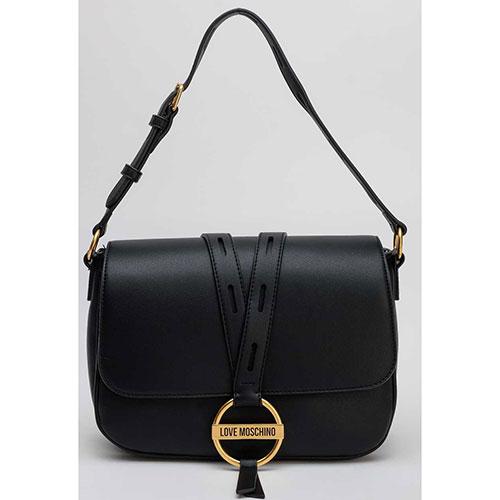 Черная прямоугольна сумка Love Moschino, фото