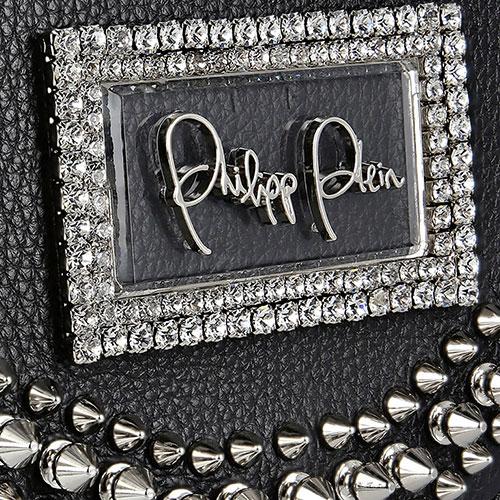 Черная сумка Philipp Plein со стразами и шипами, фото