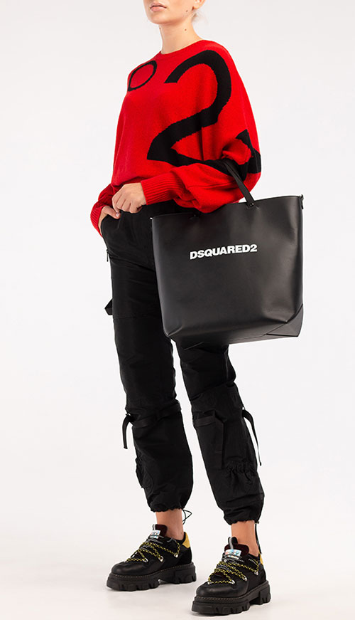 Черная сумка-тоут Dsquared2 с дополнительным ремнем, фото