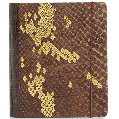 Блокнот с золотым тиснением GBwoodArt из натурального дерева с фактурой кожи питона А5, фото
