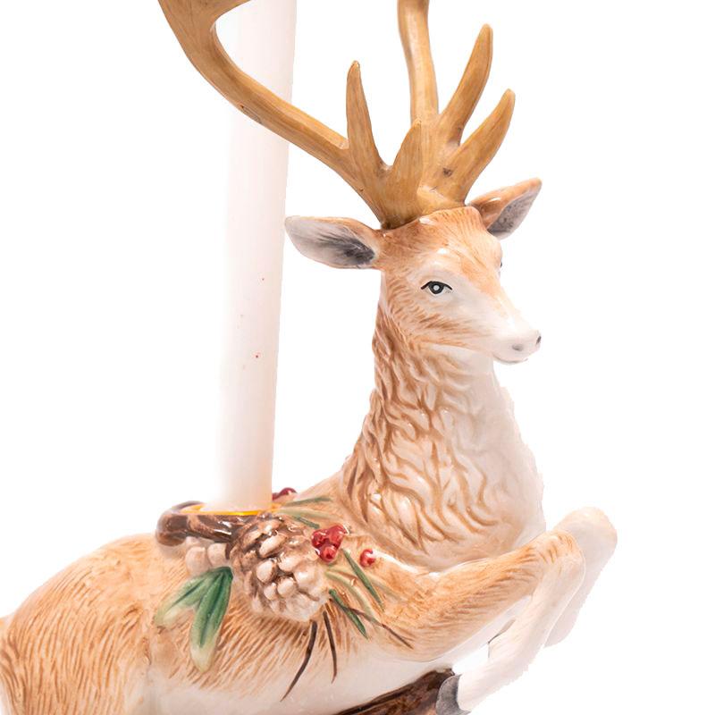 Подсвечник Fitz and Floyd Forest Frost в виде оленя с шишками