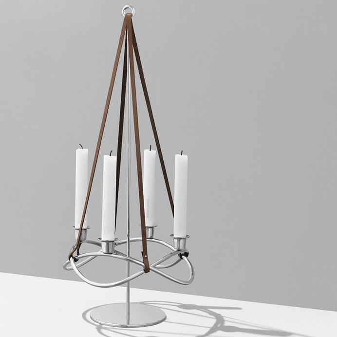 Серебристая стойка для подсвечника Georg Jensen Glow 26см