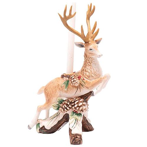 Подсвечник Fitz and Floyd Forest Frost в виде оленя с шишками, фото