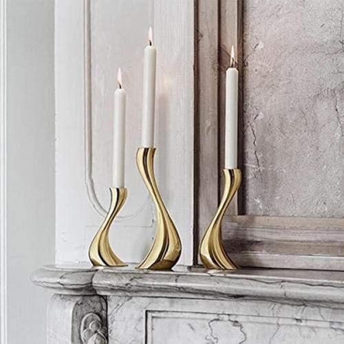 Золотистый набор подсвечников Georg Jensen Cobra 3шт, фото