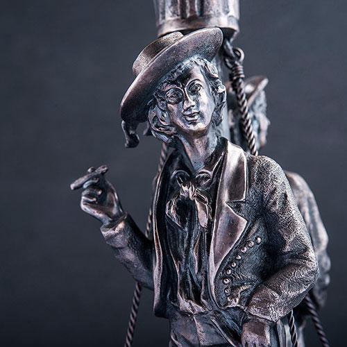 Серебряный подсвечник Оникс Моряки на корабле, фото