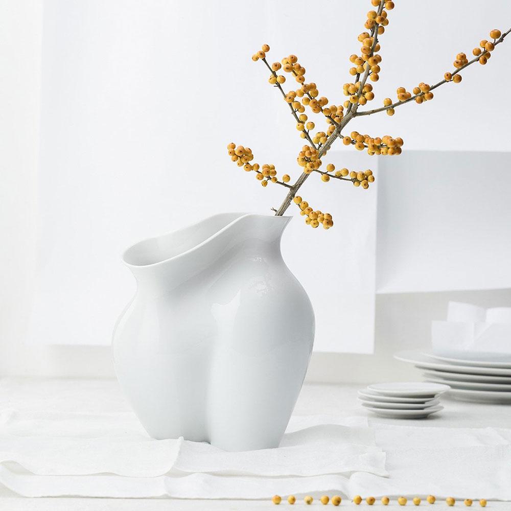 Глянцевая ваза Rosenthal La Chute белого цвета
