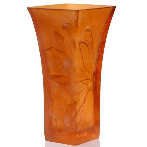 Ваза Daum Mandarine янтарного цвета, фото