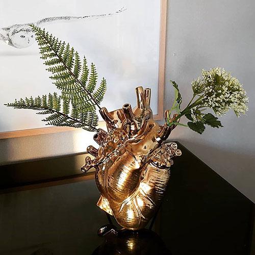 Ваза в форме сердца Seletti Love in Bloom золотистого цвета, фото