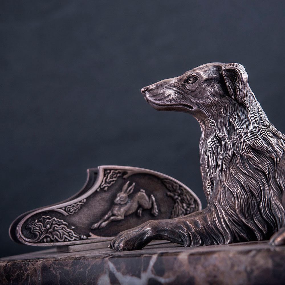 Серебряная визитница Оникс ручной работы Верный охранник