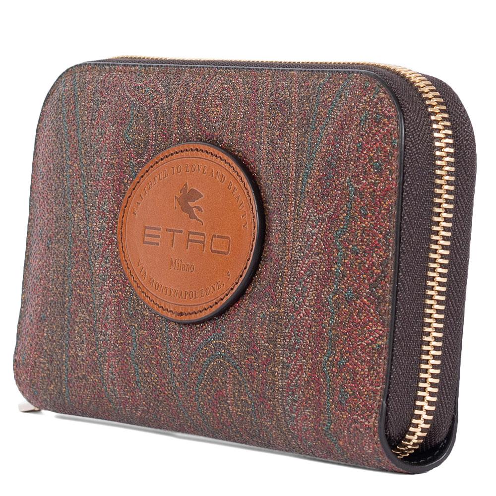 Коричневый кошелек Etro с логотипом и фирменным узором