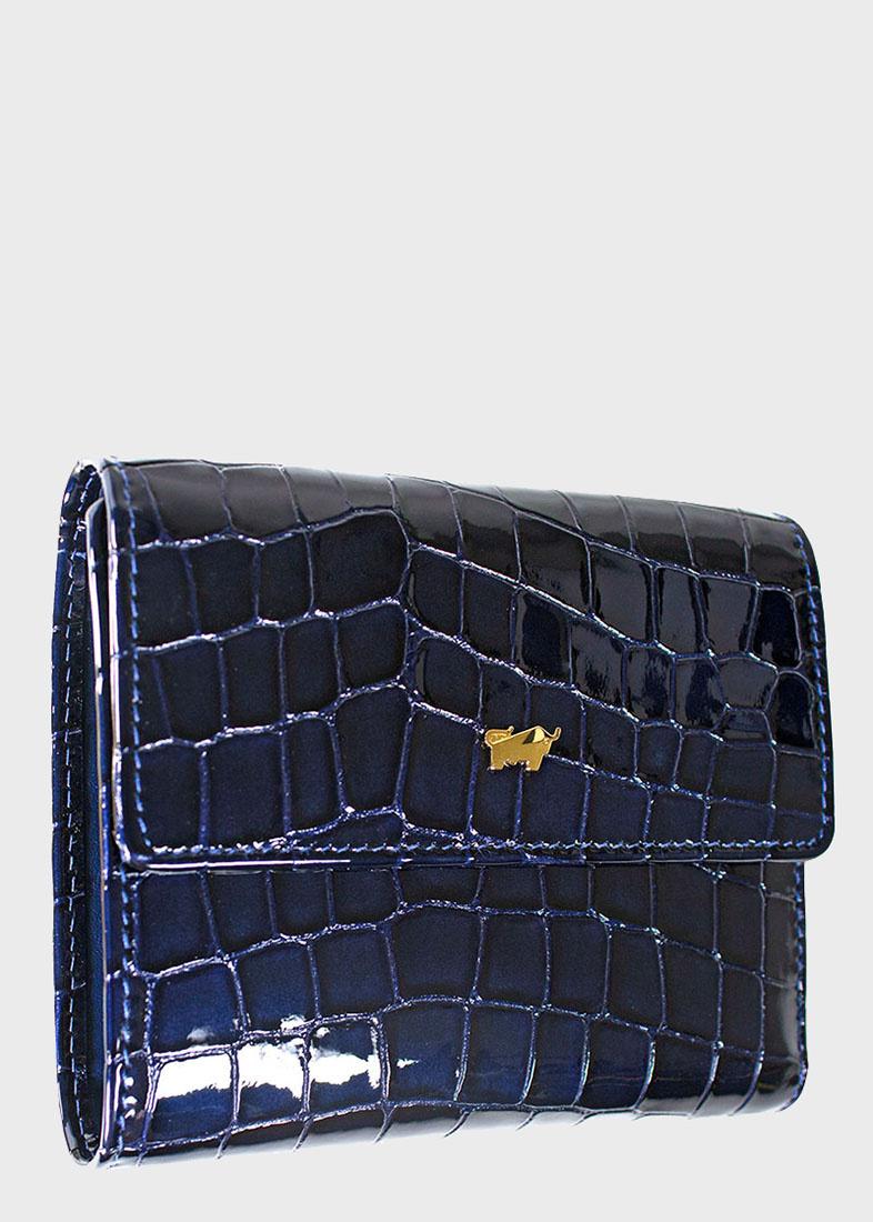 Синее портмоне Braun Bueffel Verona с тиснением под рептилию